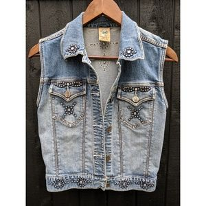 Jackets & Blazers - Denim Jean Vest with Studs